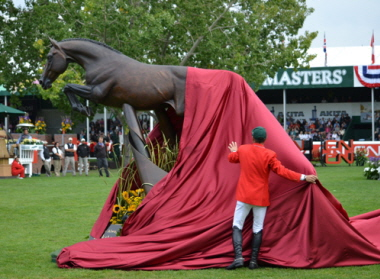 Eric Lamaze unveiling the Hickstead Statue
