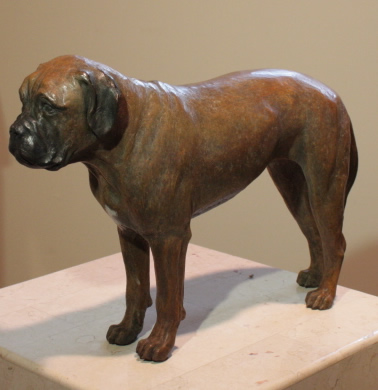 Bronze sculpture of Bull Mastif, commissioned by owner