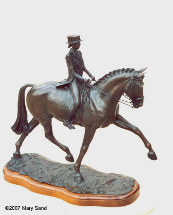 Dressage horse sculpture of Dressage horse and rider performing the half-pass