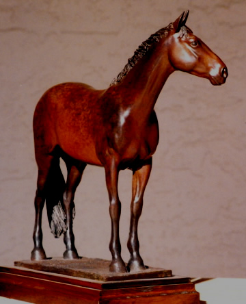 Horse sculpture of Thoroughbred, commissioned by owner.