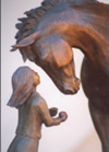"Horse sculpture of Horse and Girl titled ""First Love"""