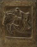 Pferde Kunst und Statuen: Bronzerelief von springenden Pferdes