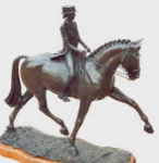 Horse sculpture of dressage horse and rider performing the Half-Pass