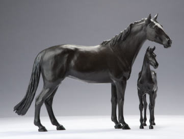 Bronze horse sculpture of mare and foal
